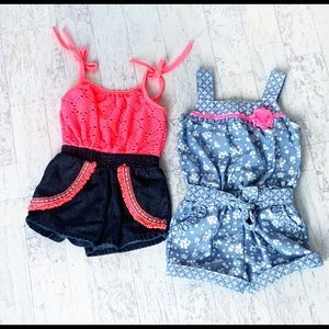 Bundle of 2 rompers size 2T pink and blue